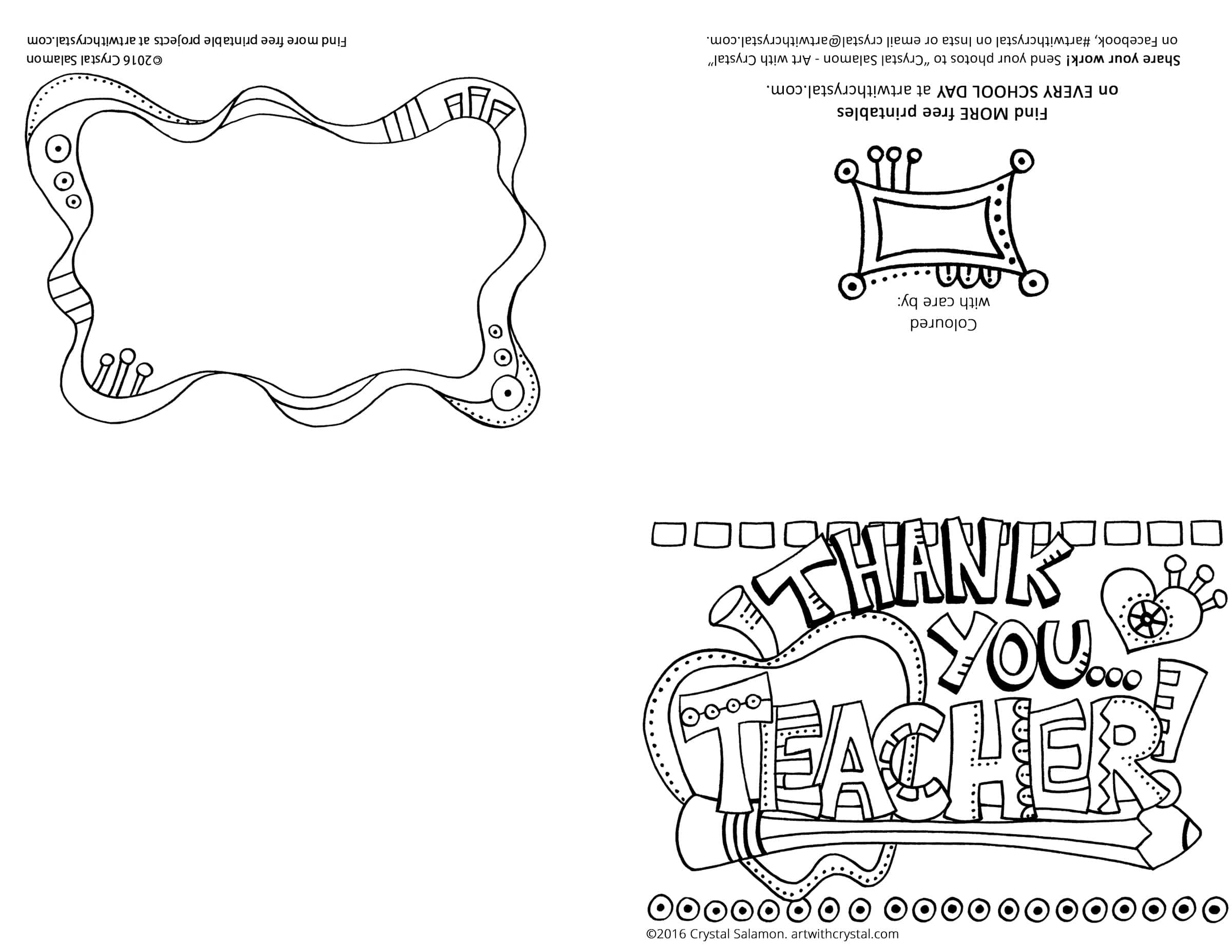 Thank You Teacher Card - FREE Printable  Art With Crystal Throughout Thank You Card For Teacher Template